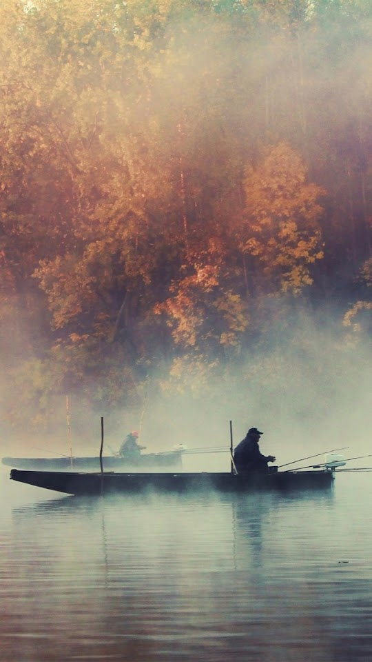 Fishing Boat Foggy Lake Autumn Landscape  Galaxy Note HD Wallpaper