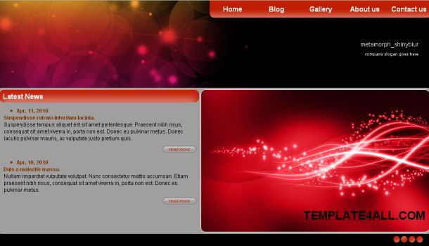Blur Red Jquery CSS Template - Free Web Templates Dreamwaver