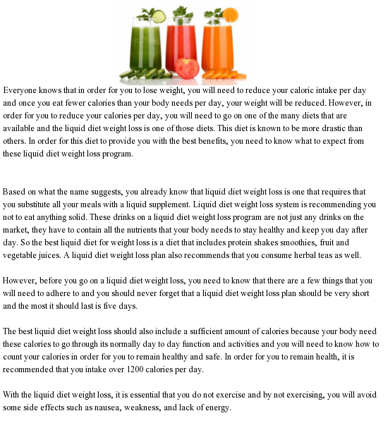 liquid diets lose weight fast