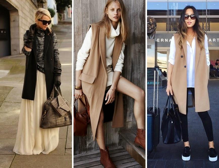 Tendência moda - Coletes compridos sem mangas Inverno  2015
