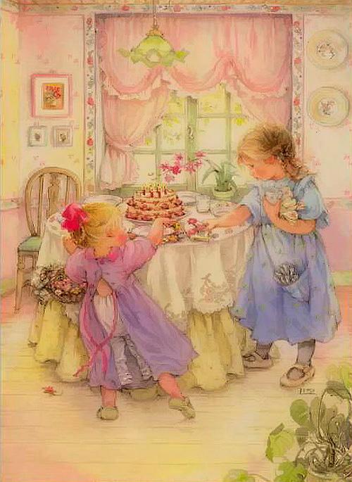 девочки накрывают на стол картина лизи мартин