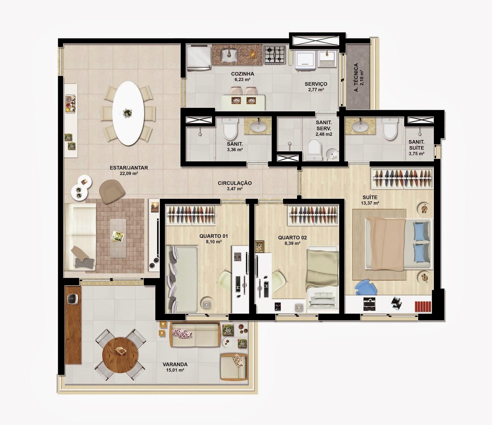 verano residencial - tipo 91m²