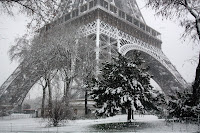 Snow on the Eiffel Tower