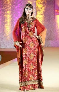 The Bride Wears Hijab Red Henna Dresses