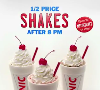 Sonic has announced that they will now serve half price shakes