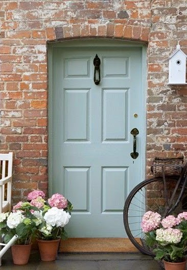 Mint green front door