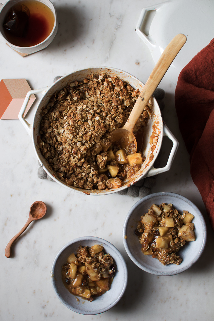Flourishing FoodieMaple Walnut Apple Crisp with Raisins