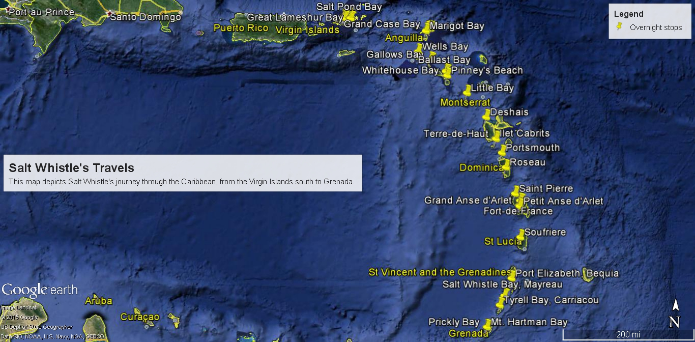 Salt whistle sailing map our journey this google earth map shows all of the places we stopped on our sail south to grenada gumiabroncs Gallery