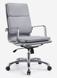 High Back Gray Leather Office Chair