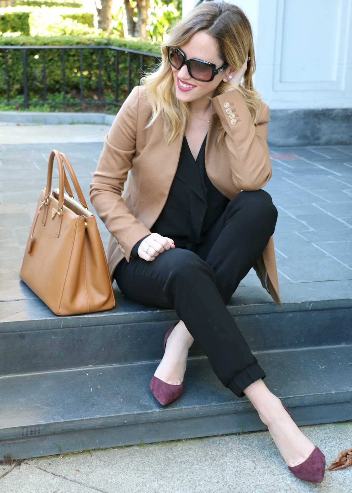 sweatpants for work, tan jcrew blazer