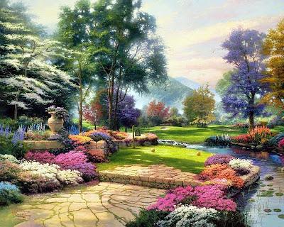 Jardines junto al río con flores de colores