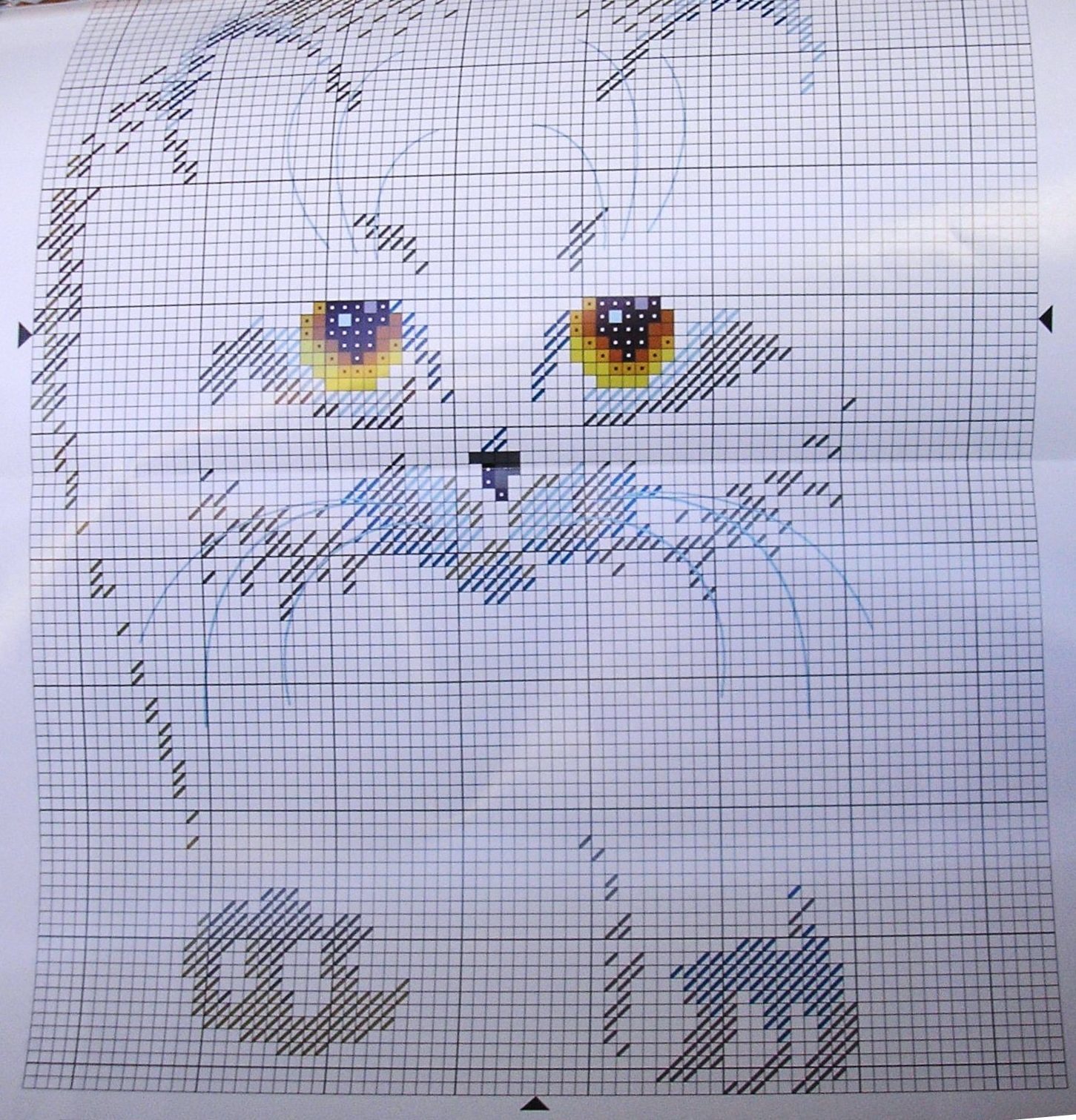 Схема вышивки чёрного кота 328