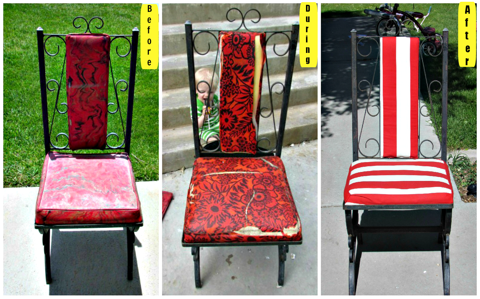Reupholstered Patio Chairs #Tutorial