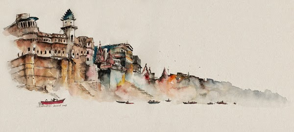 Water colour picture of Varanasi, India