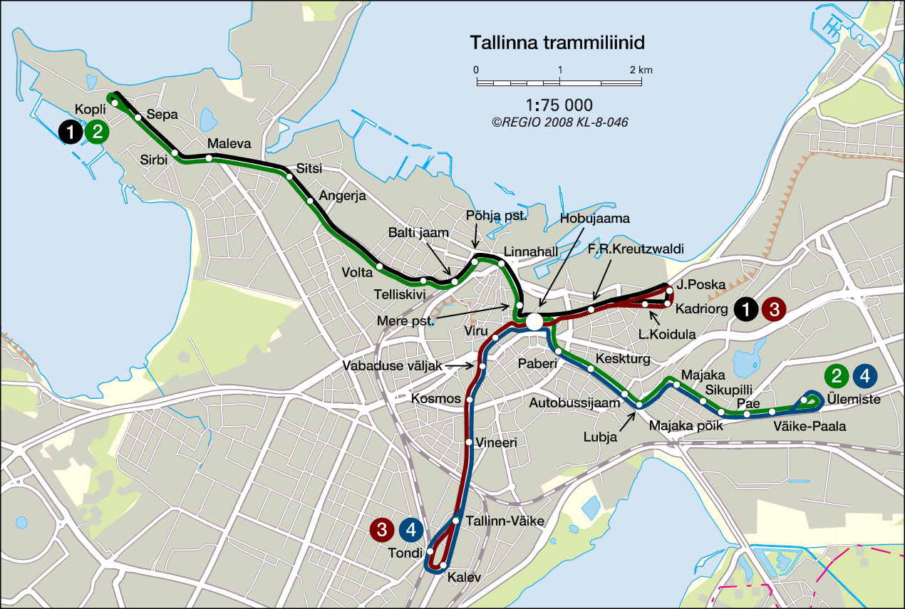 Tallinns public transport map the narrow road to the deep north