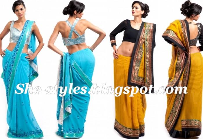House Of Raaj Eid Sarees 2012 Party Wear Saree Saree Blouse 2012 News Fashion Styles