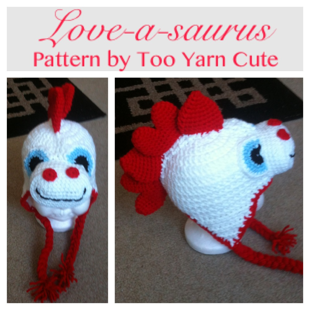 Too Yarn Cute Dino Hat With Heart Spike Variation Free Crochet