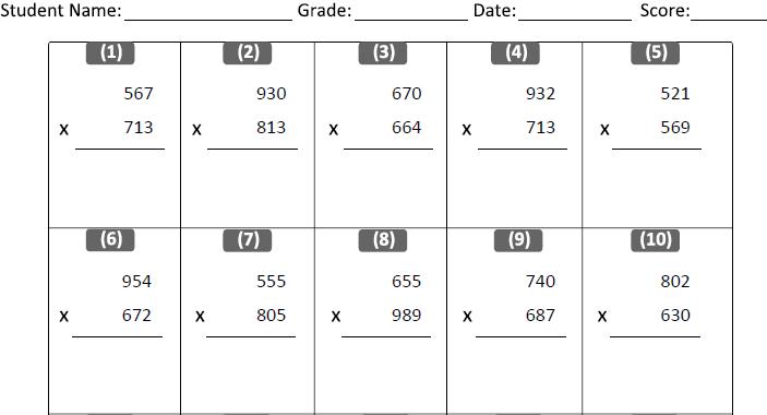 Multiplication Worksheets multiplication worksheets grade 4 100 – Multiplication Worksheet 100 Problems