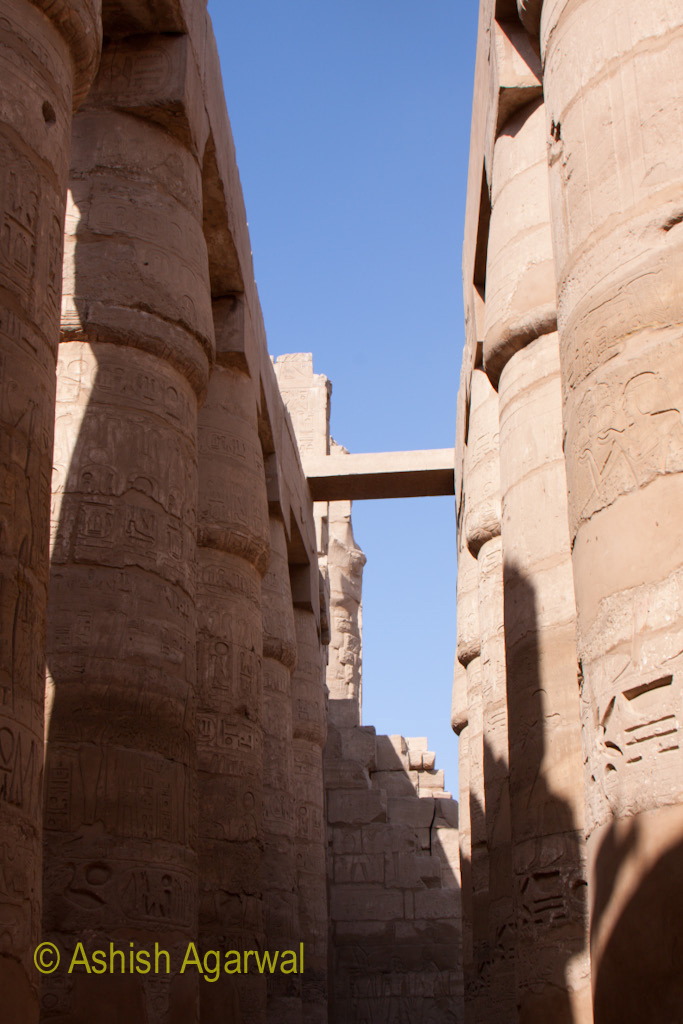 Gap between the pillars of the Hypostyle Hall in the Karnak temple in Luxor