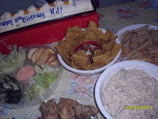 yummy food during rj's birthday party