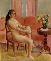 JOAQUIM SUNYER Mujer desnuda sentada ante una mesa 1949