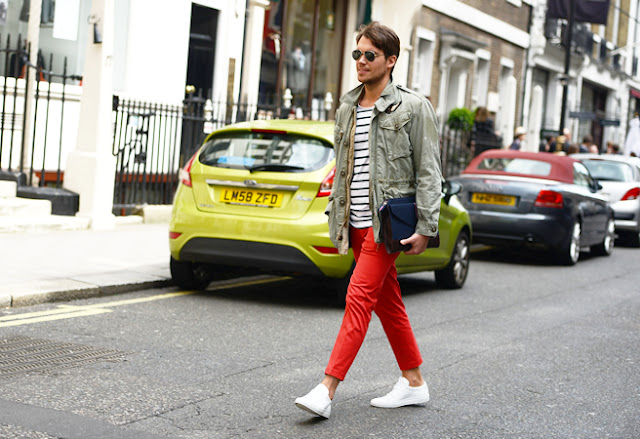 street style london collections men menswear red chinos tommy ton