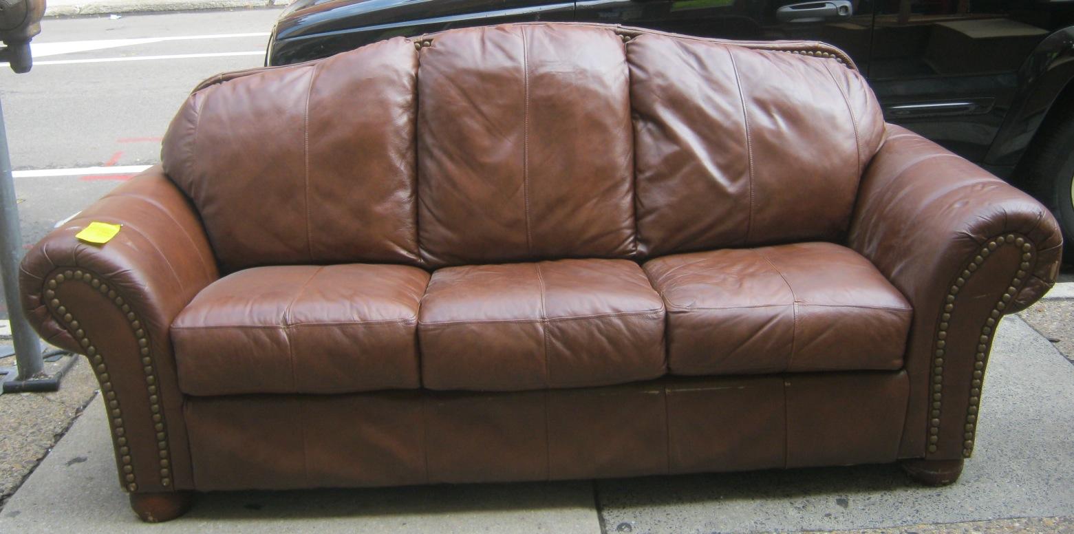 Uhuru furniture collectibles leather camel back sofa w nailhead details sold Camel back sofa