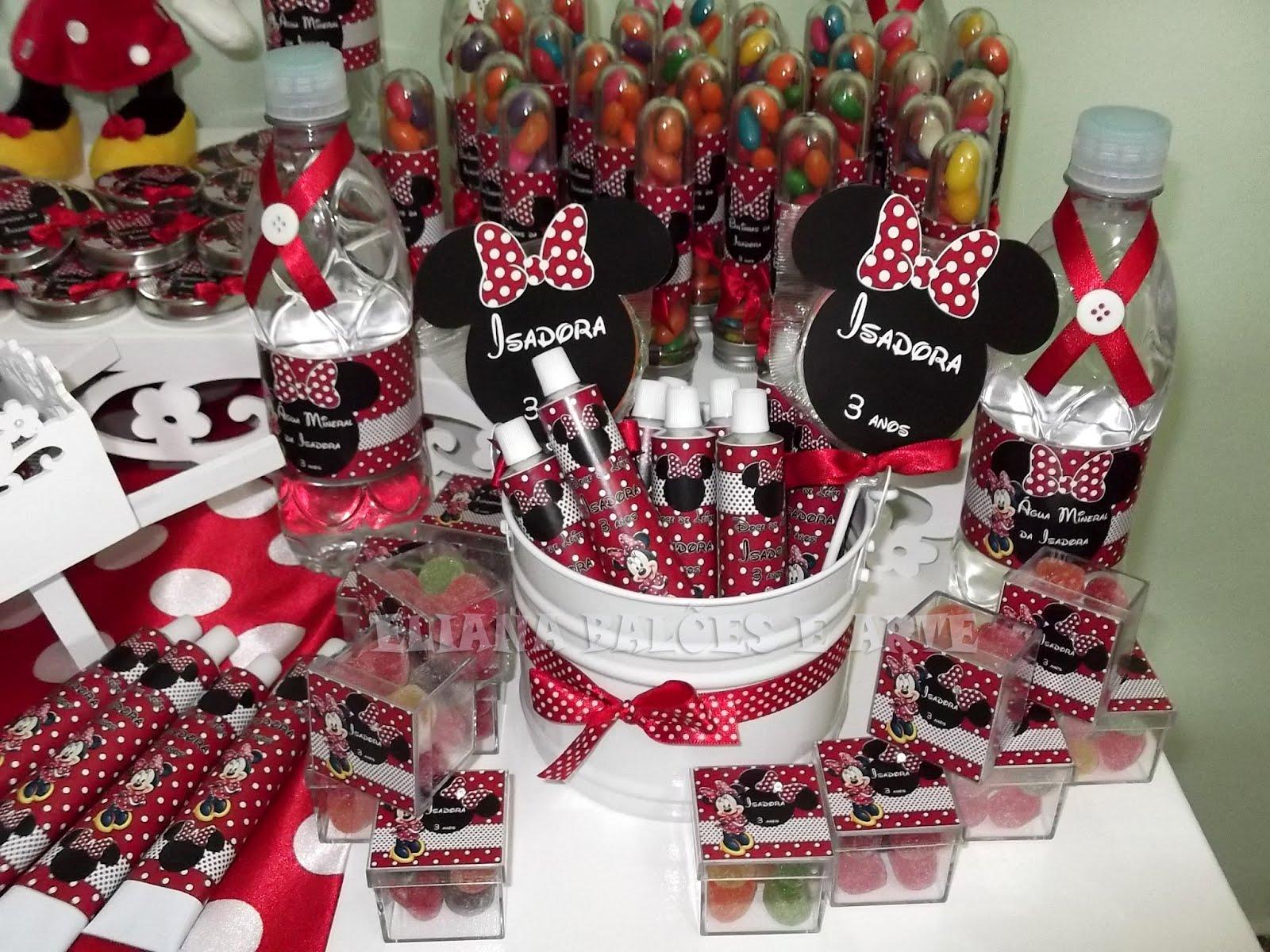 Eliana Festas e Arte  Mesa de Guloseimas tema Minnie vermelha