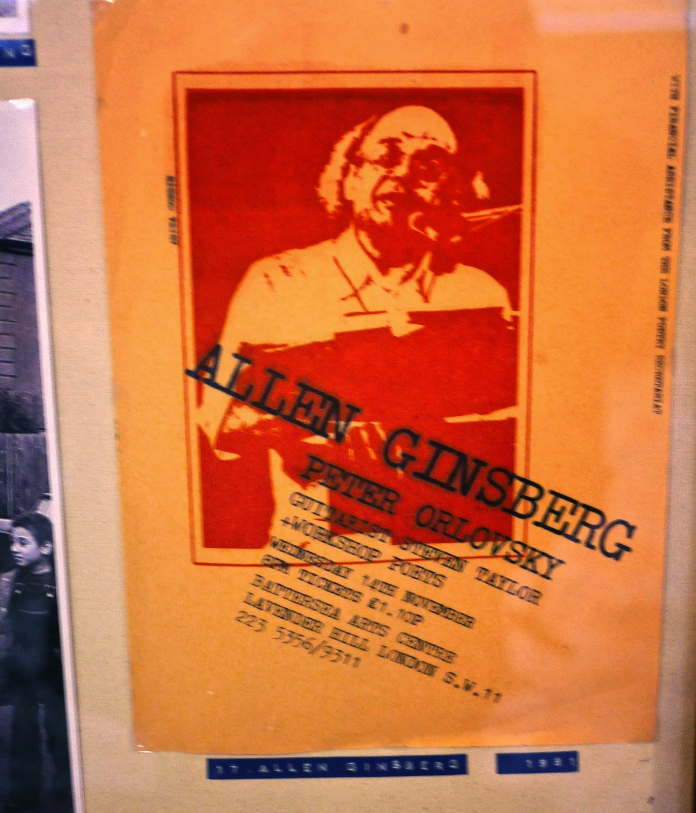 Allen Ginsberg appears at Battersea Arts Centre, Lavender Hill, London SW11, in November 1981.