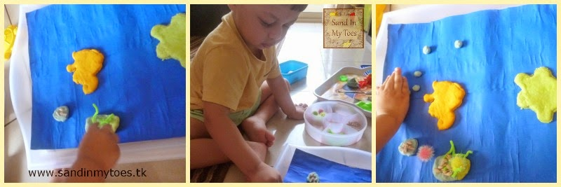 Playing with underwater play dough