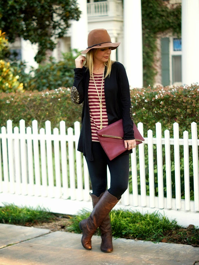 casual fall outfit idea with riding boots
