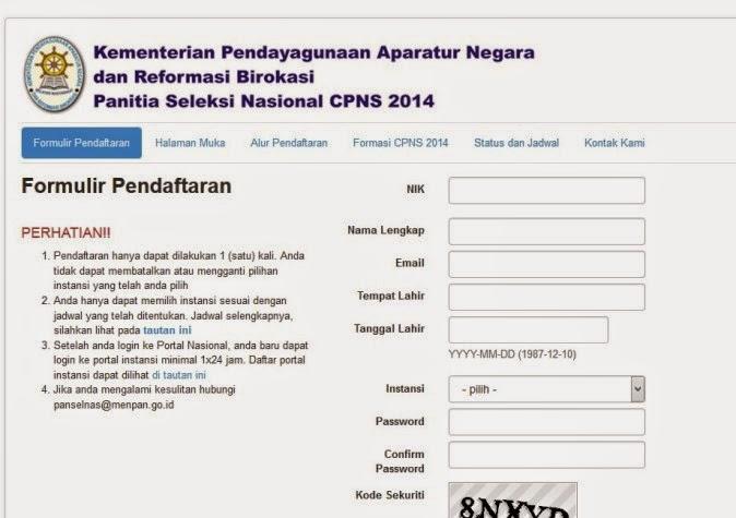 Formulir Pendaftaran CPNS 2015