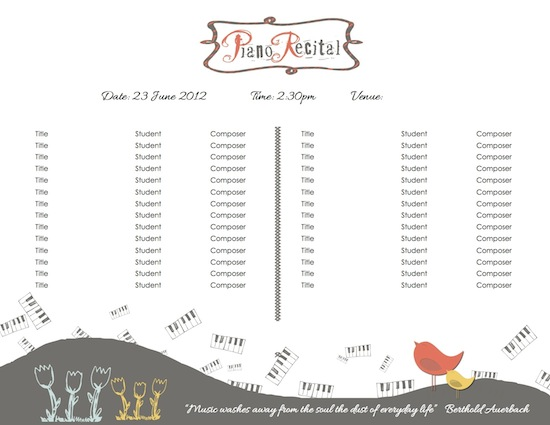 piano recital certificate template