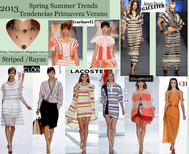 Clóe, lacoste cacharel vestido rayas camisa blusa abrigo tribal azul naranja verticales horizontales cinturón combinación estampados naranja carolina herrera custo barcelona jean paul gaultier coat striped dress shirt blouse blue tribal belt combination horizontal vertical orange orange prints