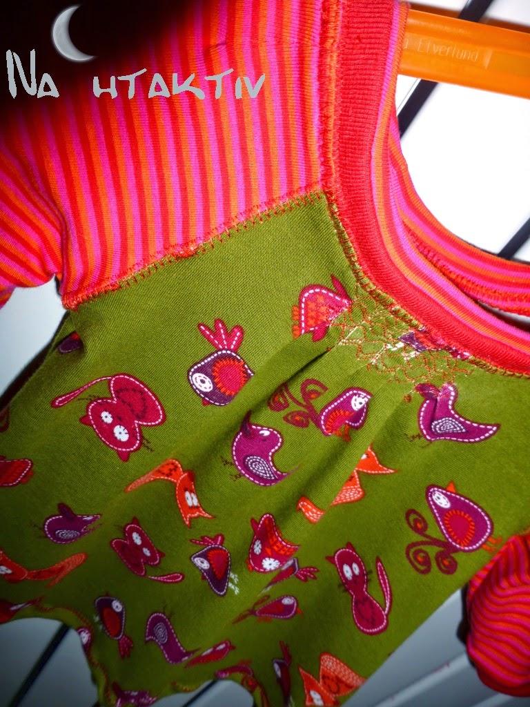 Babykleidchen kinderkleidung selber nähen Jerseykleid Bündchen Overlock nahtaktiv Fuchs Katze Vogel Bird Streifen Ringel