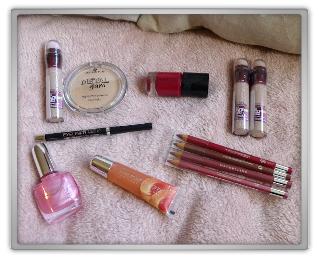 makeup haul shoplog maybelline 143 eraser eye concealer lip liner colorsensational eyeliner matic catrice thrilling me softly essence metal glam