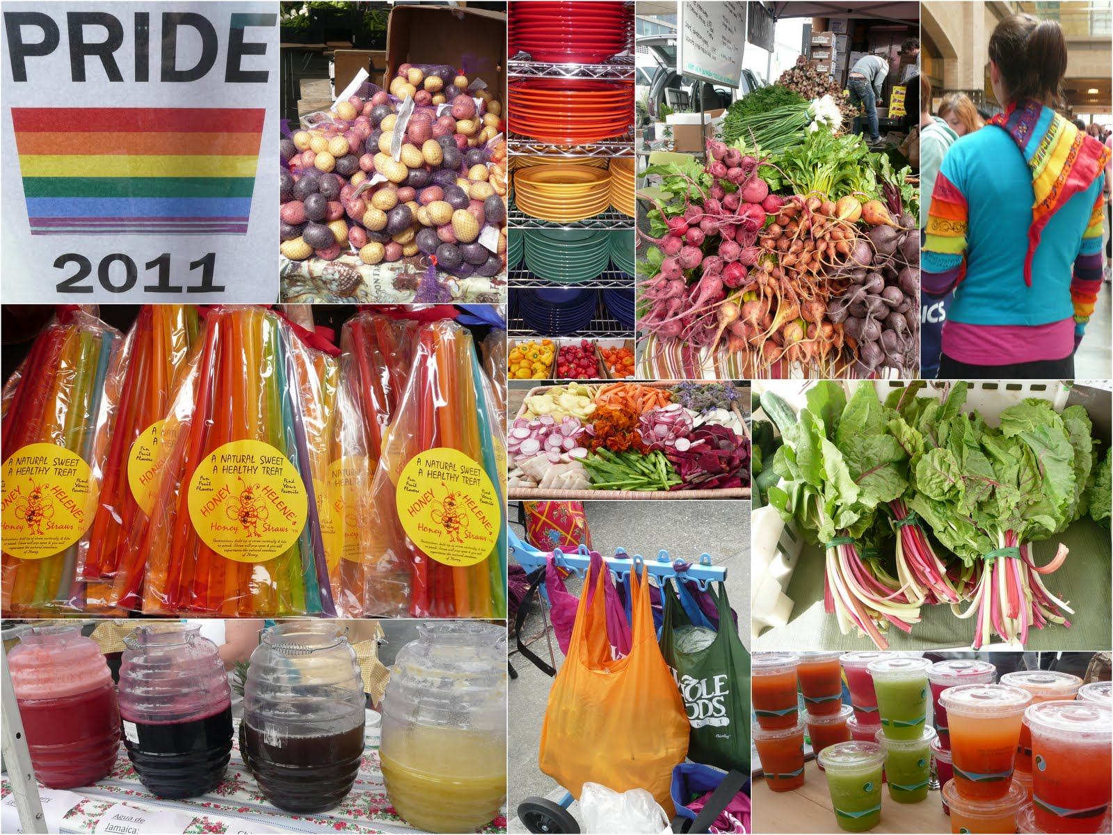 gay+pride+pix+for+food+collage1 All the Colors of the Rainbow   Gay Pride at the San Francisco Ferry Plaza ...