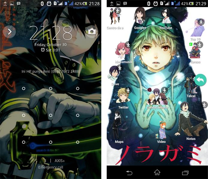 Kurotsuki launcher dengan tema anime terbaik di for Temas anime para android