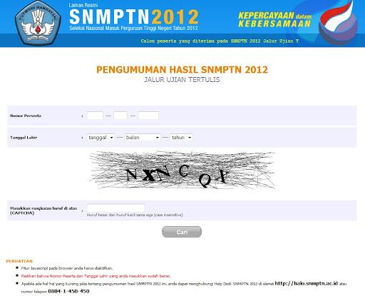 Pengumuman SNMPTN 2012 | www.snmptn.ac.id