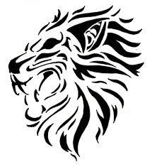 Motif Tato Singa Hitam Putih 1