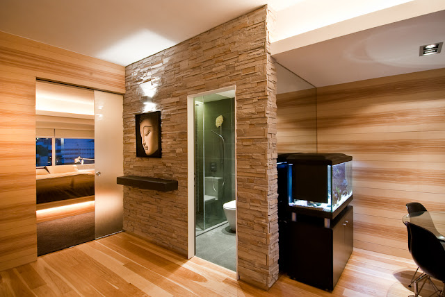 Picture of the entrance hallway with bathroom entrance as part of the Hong Kong apartment design