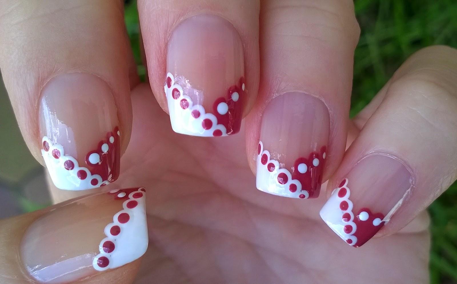 Life World Women French Manicure Ideas White Mauve Lace Nail Art