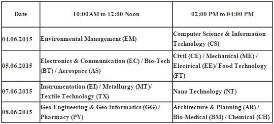 Telangana TS/TG PGECET 2015 Exam Schedule