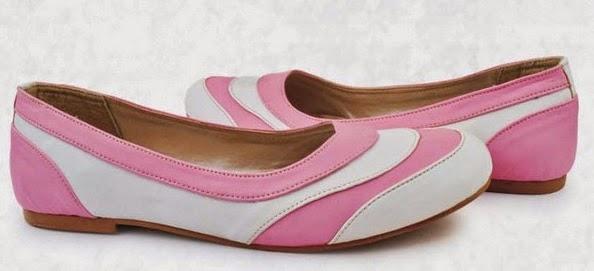 Sepatu: Sepatu Flat Putih Pink Hazzel