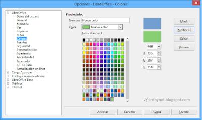 Guardar el nuevo color en LibreOffice