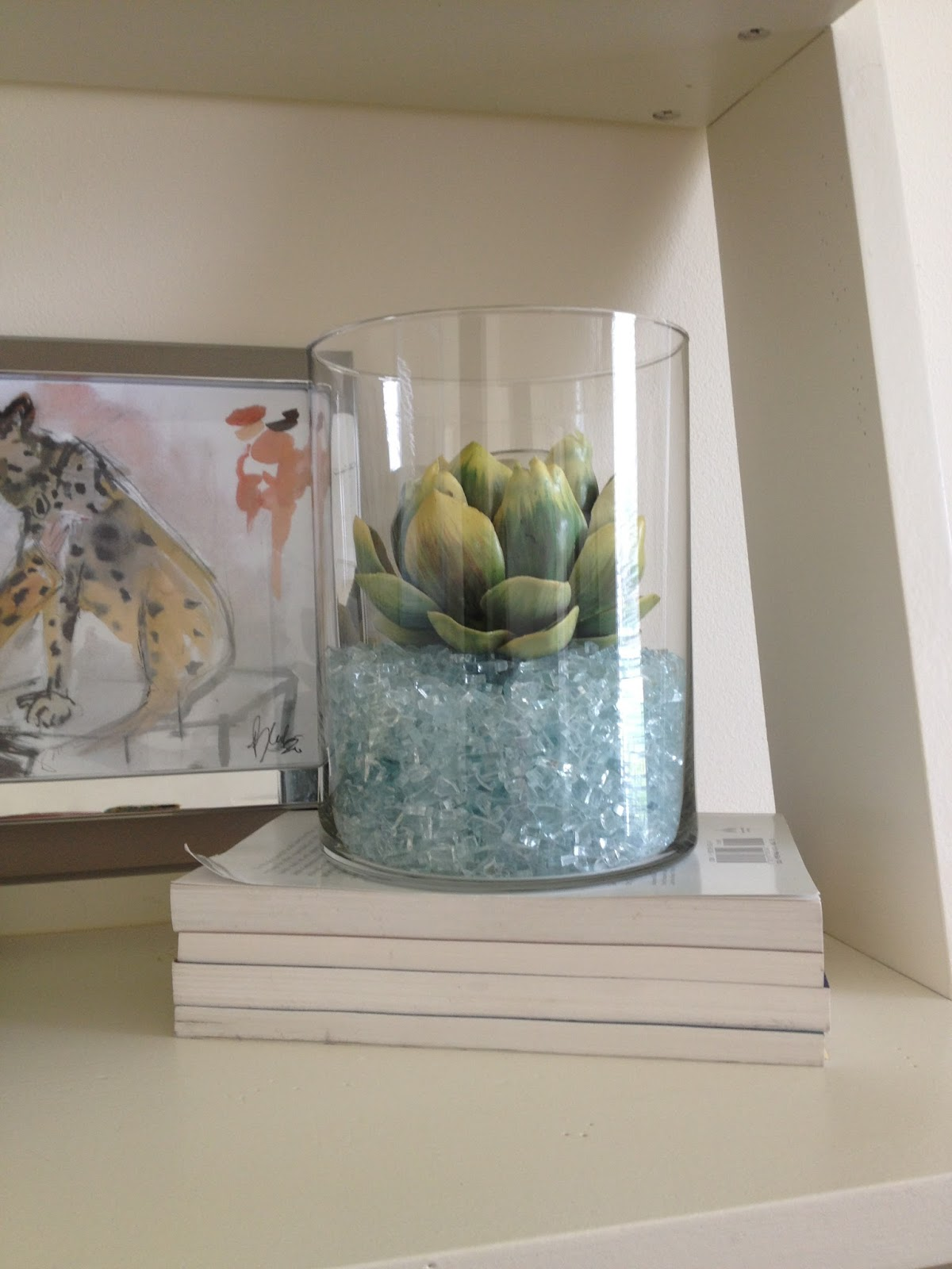 Inside out design vase filler switch up the paper chain was looking crushed so i replaced it with broken glass its glass from a door in our first house story is here reviewsmspy