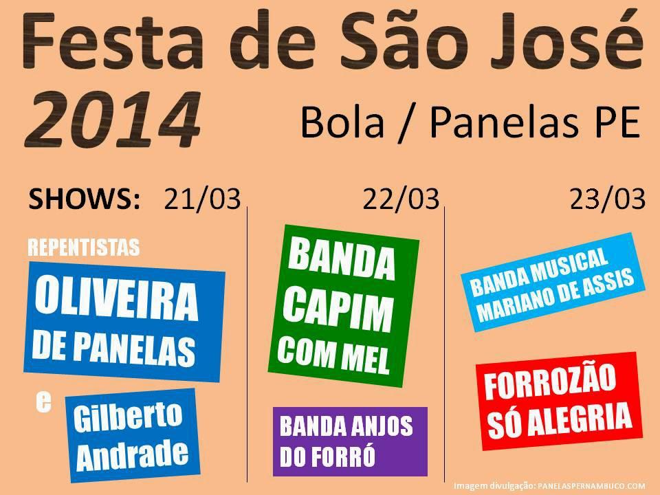Programação da Festa de São José do Bola 2014