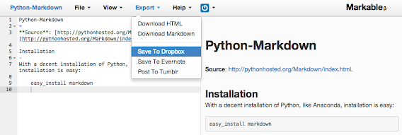 Markable screenshot of Python Markdown info