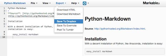Markable screenshot of Python Markdown info