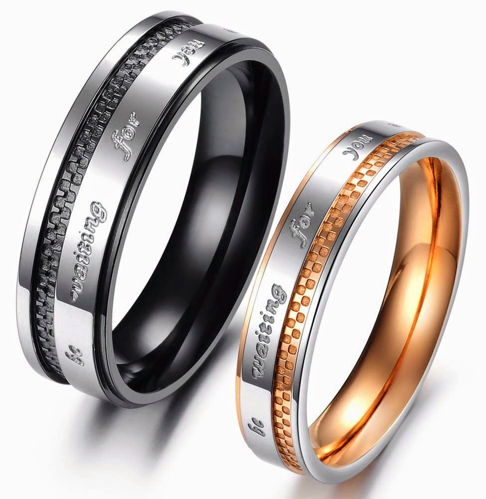 Gay Wedding Ring Sets Black and Rose Gold Design pictures hd
